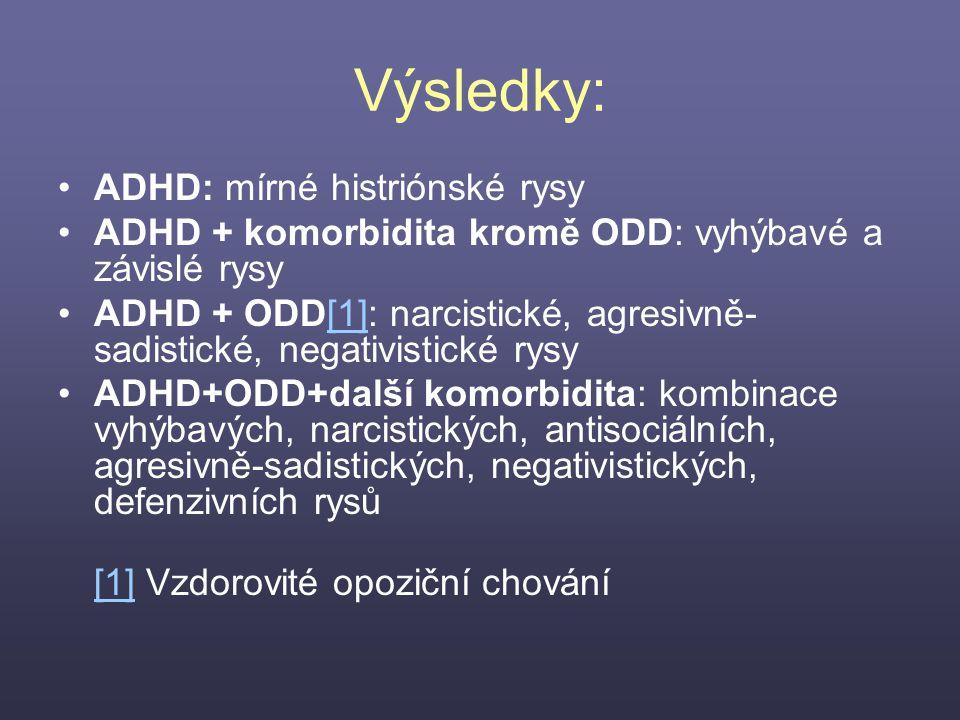 Výsledky: ADHD: mírné histriónské rysy