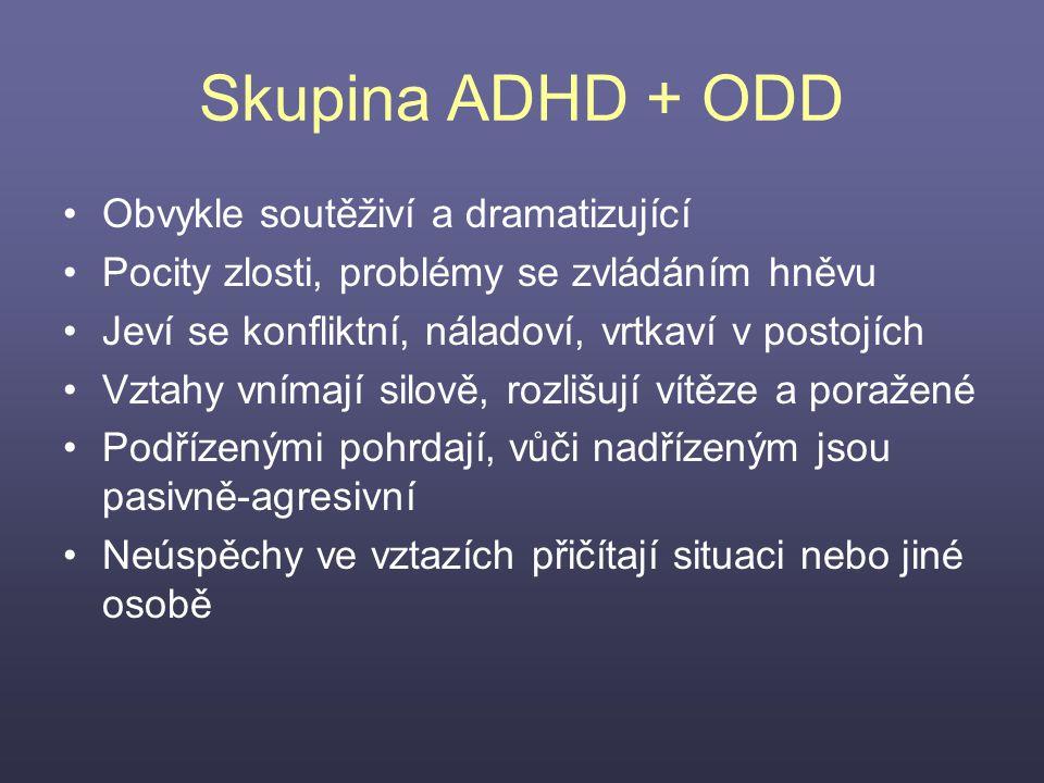 Skupina ADHD + ODD Obvykle soutěživí a dramatizující