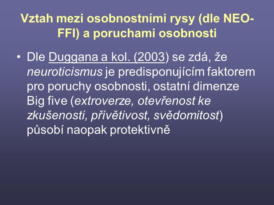 Vztah mezi osobnostními rysy (dle NEO-FFI) a poruchami osobnosti