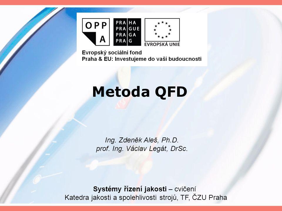 Metoda QFD Ing. Zdeněk Aleš, Ph.D. prof. Ing. Václav Legát, DrSc.