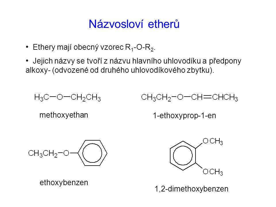 Názvosloví etherů Ethery mají obecný vzorec R1-O-R2.