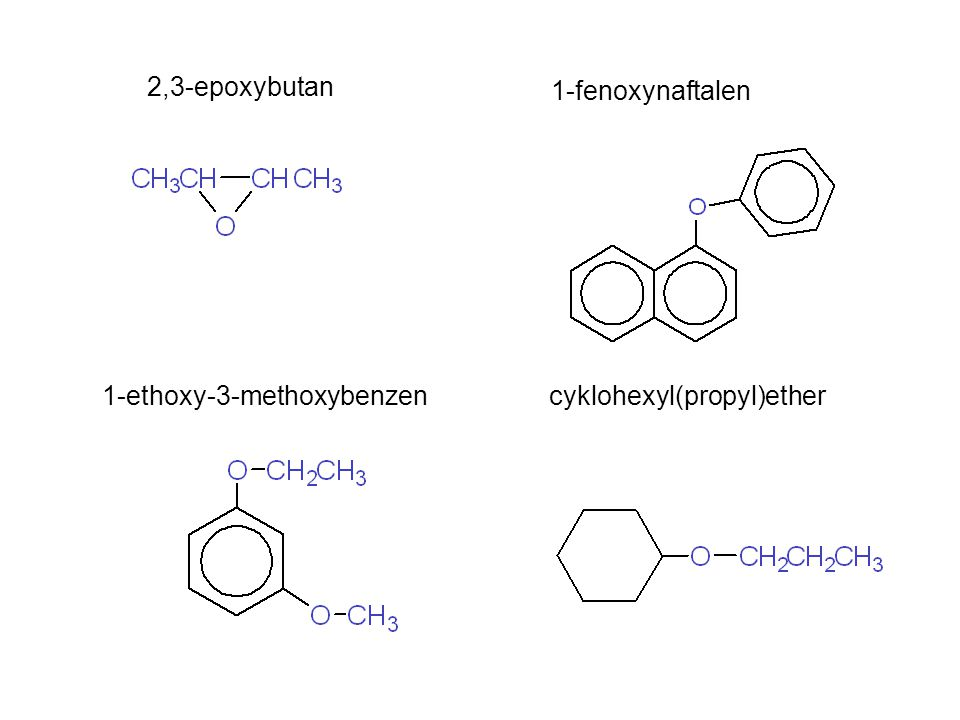 2,3-epoxybutan 1-fenoxynaftalen 1-ethoxy-3-methoxybenzen cyklohexyl(propyl)ether