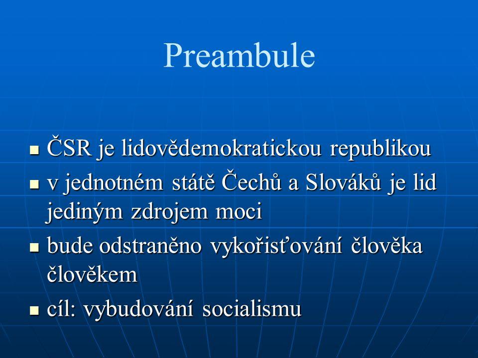 Preambule ČSR je lidovědemokratickou republikou