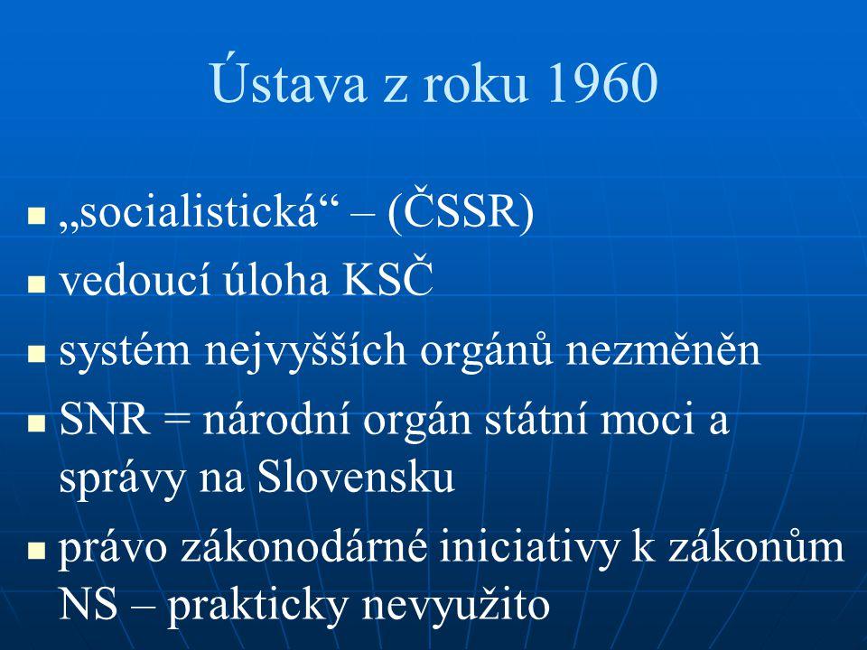"""Ústava z roku 1960 """"socialistická – (ČSSR) vedoucí úloha KSČ"""