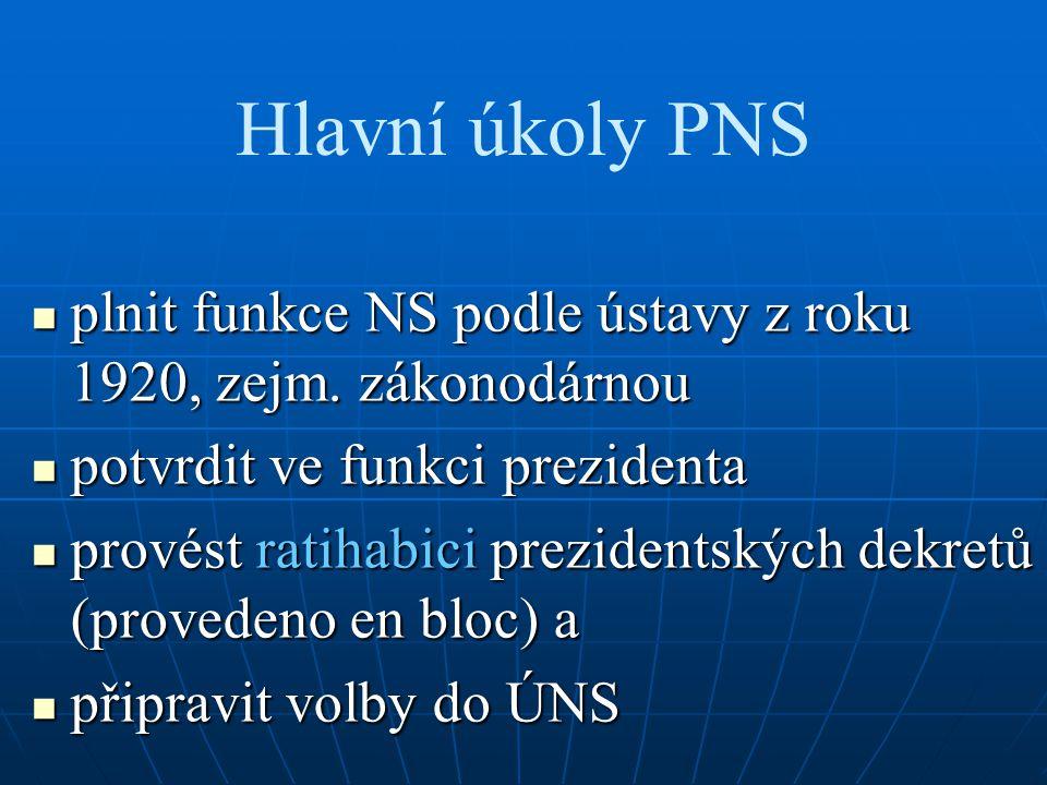 Hlavní úkoly PNS plnit funkce NS podle ústavy z roku 1920, zejm. zákonodárnou. potvrdit ve funkci prezidenta.