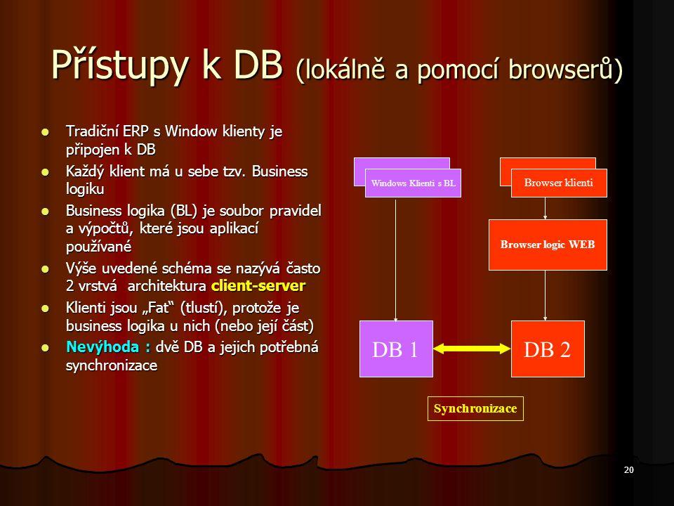 Přístupy k DB (lokálně a pomocí browserů)