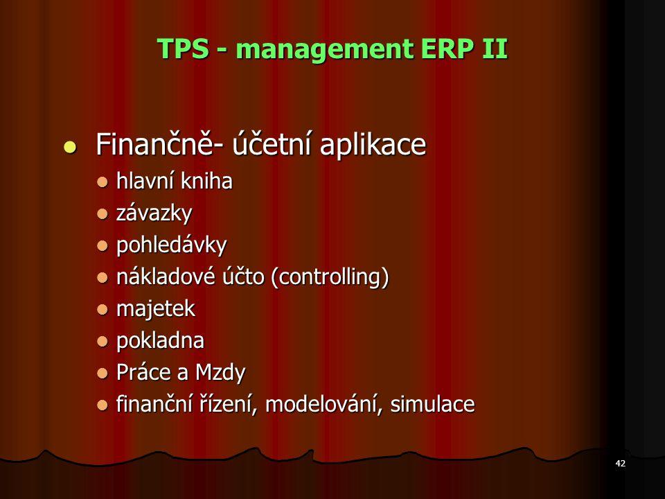 TPS - management ERP II Finančně- účetní aplikace hlavní kniha závazky