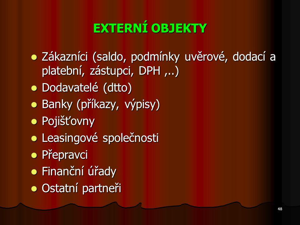 EXTERNÍ OBJEKTY Zákazníci (saldo, podmínky uvěrové, dodací a platební, zástupci, DPH ,..) Dodavatelé (dtto)