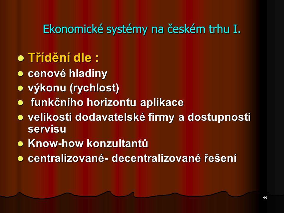 Ekonomické systémy na českém trhu I.