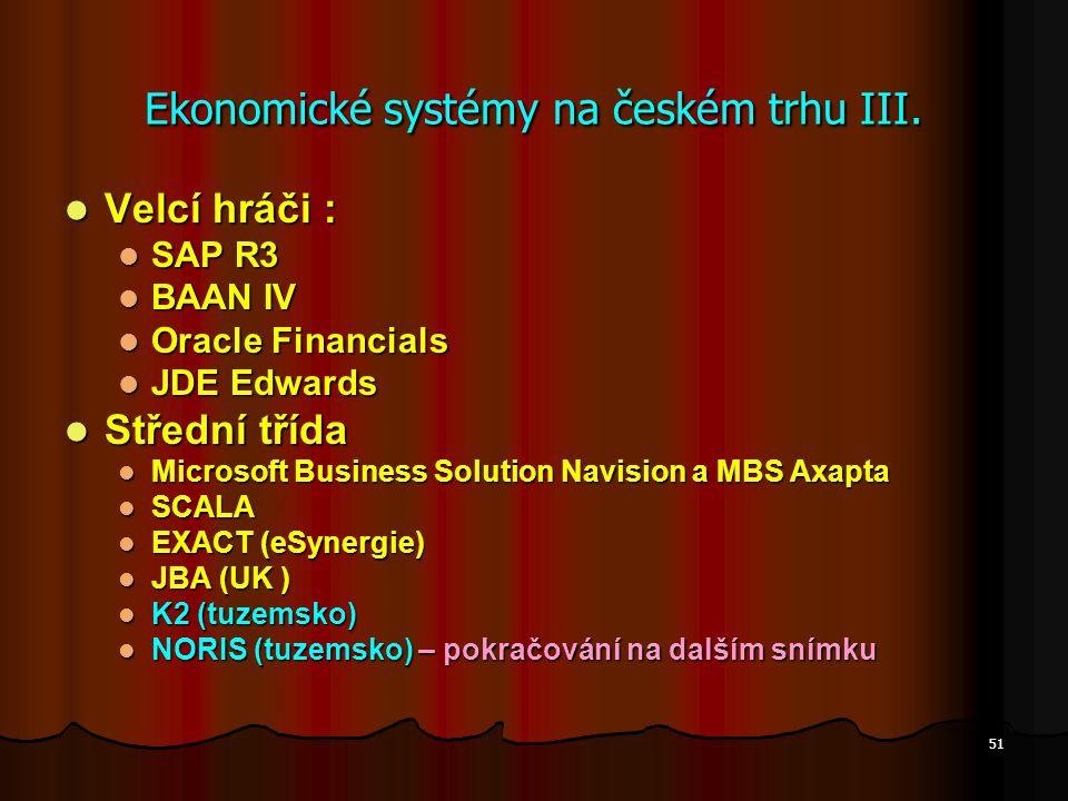 Ekonomické systémy na českém trhu III.