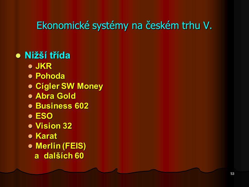Ekonomické systémy na českém trhu V.