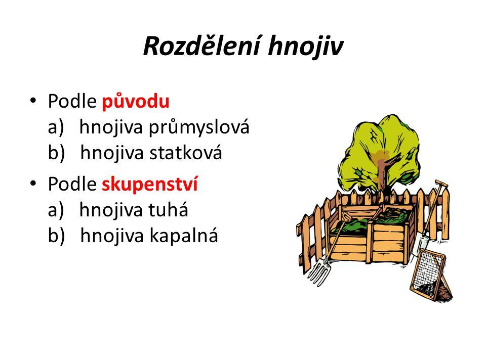 Rozdělení hnojiv Podle původu a) hnojiva průmyslová b) hnojiva statková.