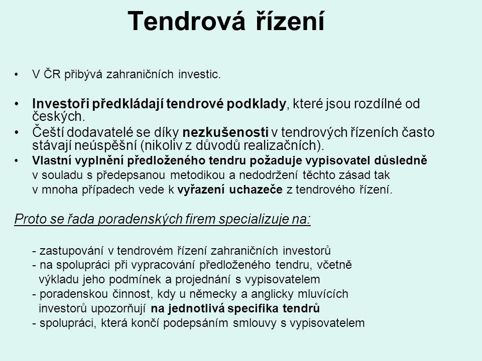 Tendrová řízení V ČR přibývá zahraničních investic. Investoři předkládají tendrové podklady, které jsou rozdílné od českých.