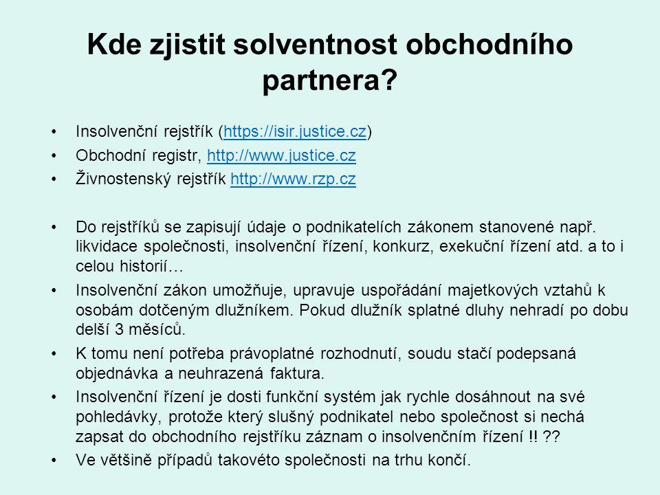 Kde zjistit solventnost obchodního partnera