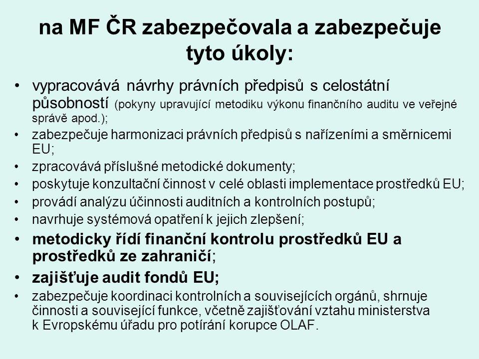 na MF ČR zabezpečovala a zabezpečuje tyto úkoly: