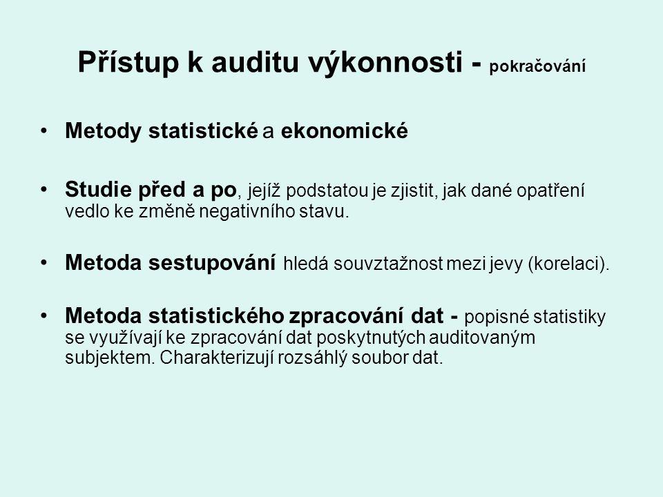 Přístup k auditu výkonnosti - pokračování