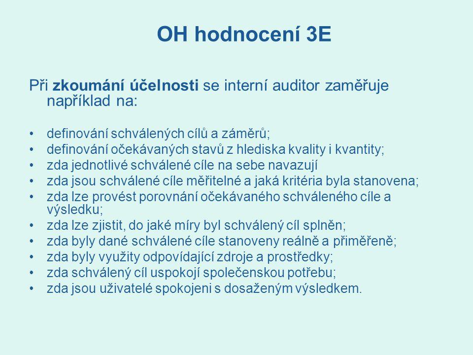 OH hodnocení 3E Při zkoumání účelnosti se interní auditor zaměřuje například na: definování schválených cílů a záměrů;