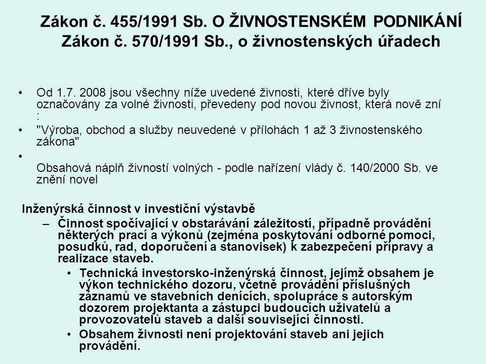 Zákon č. 455/1991 Sb. O ŽIVNOSTENSKÉM PODNIKÁNÍ Zákon č. 570/1991 Sb