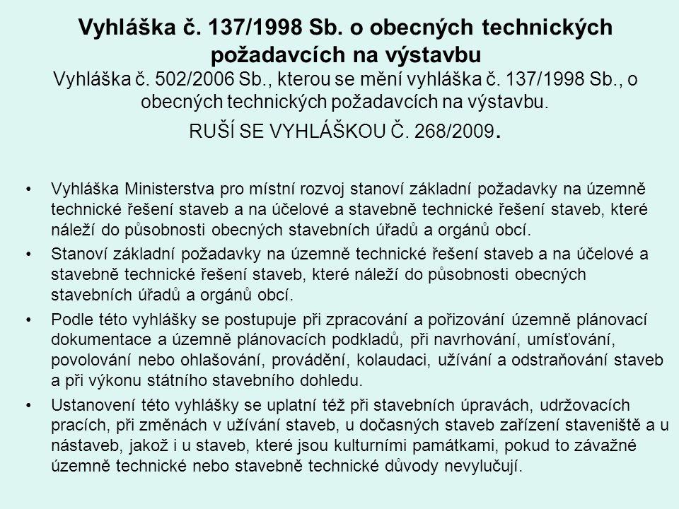 Vyhláška č. 137/1998 Sb. o obecných technických požadavcích na výstavbu Vyhláška č. 502/2006 Sb., kterou se mění vyhláška č. 137/1998 Sb., o obecných technických požadavcích na výstavbu. RUŠÍ SE VYHLÁŠKOU Č. 268/2009.