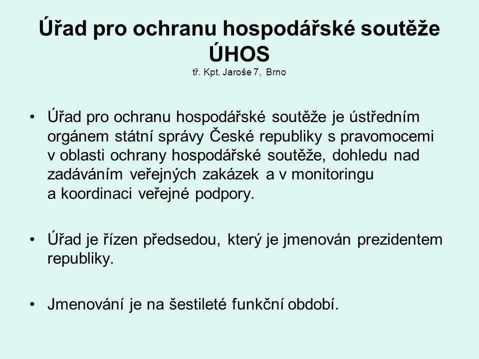 Úřad pro ochranu hospodářské soutěže ÚHOS tř. Kpt. Jaroše 7, Brno