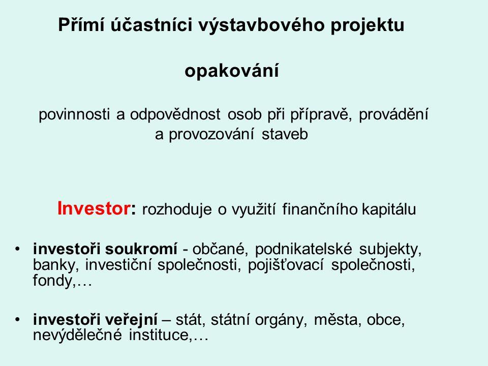 Investor: rozhoduje o využití finančního kapitálu