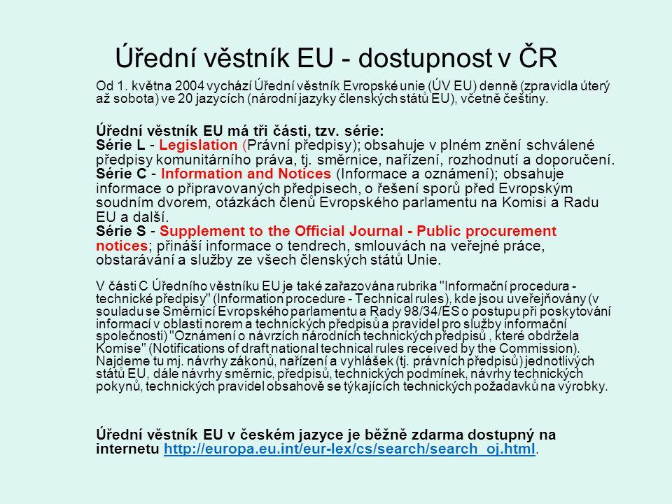 Úřední věstník EU - dostupnost v ČR