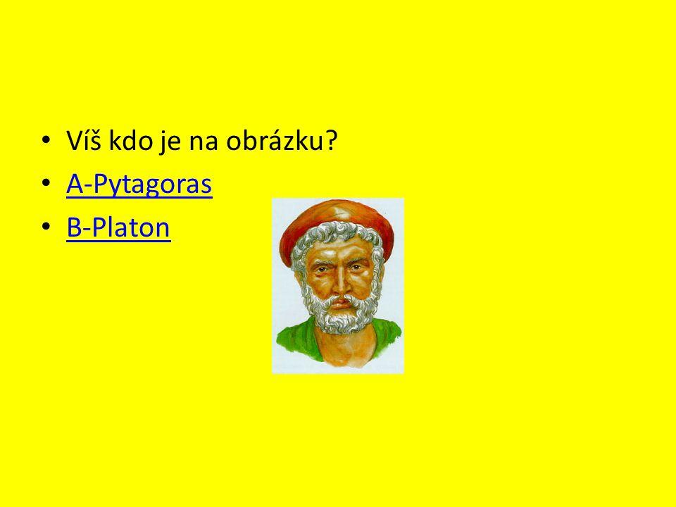 Víš kdo je na obrázku A-Pytagoras B-Platon
