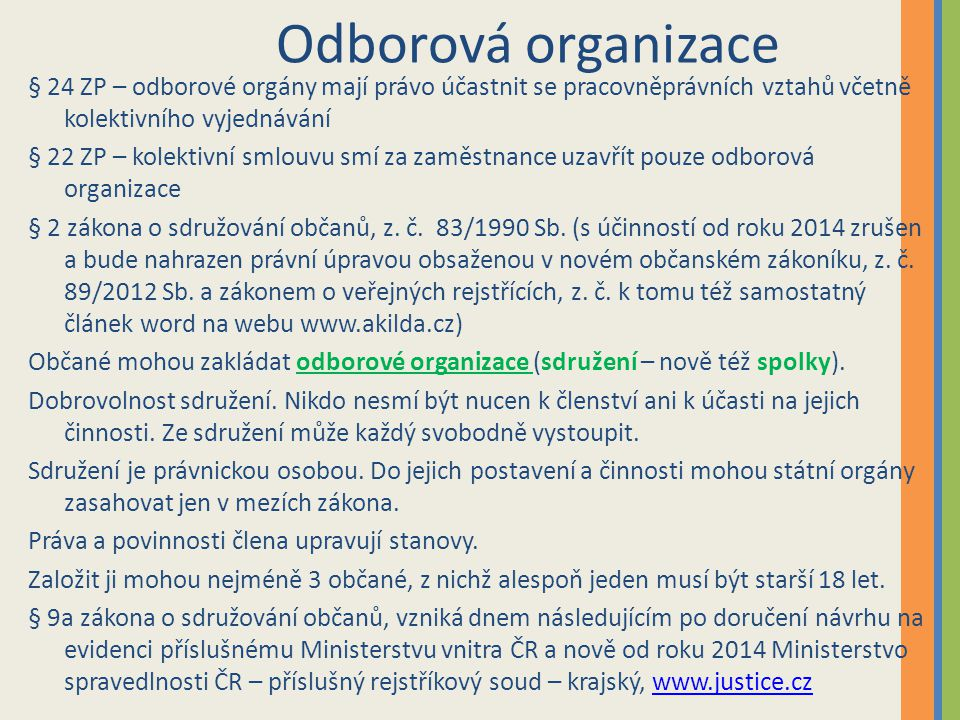 Odborová organizace § 24 ZP – odborové orgány mají právo účastnit se pracovněprávních vztahů včetně kolektivního vyjednávání.