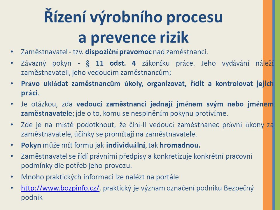 Řízení výrobního procesu a prevence rizik