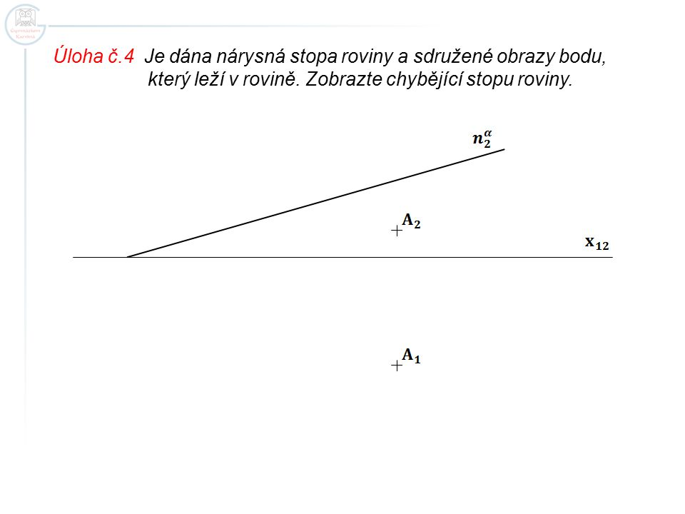 Úloha č.4 Je dána nárysná stopa roviny a sdružené obrazy bodu,