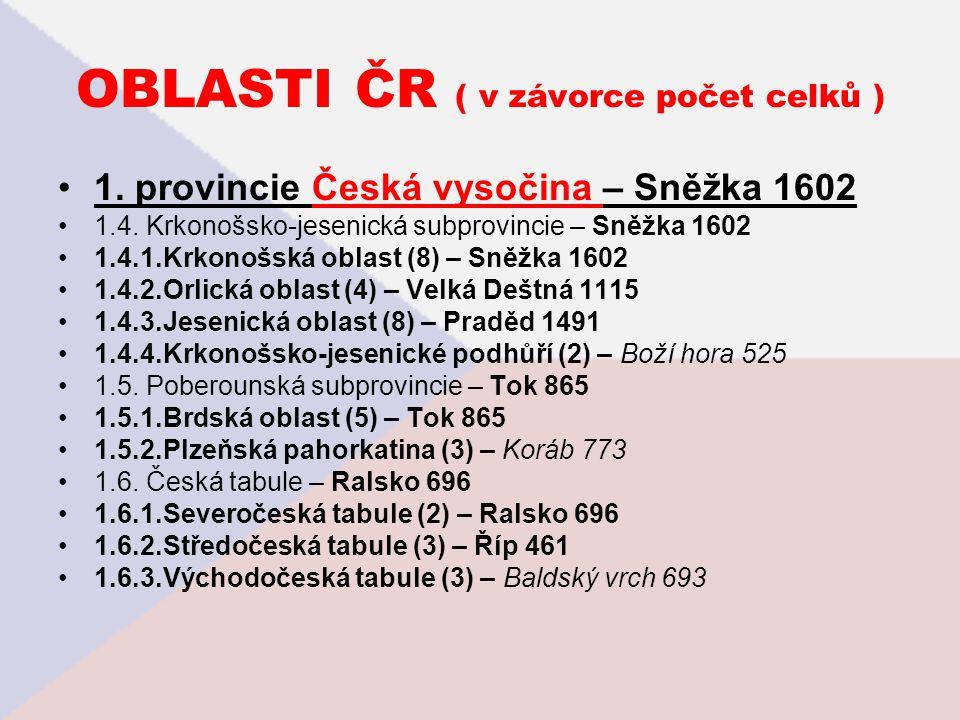 OBLASTI ČR ( v závorce počet celků )