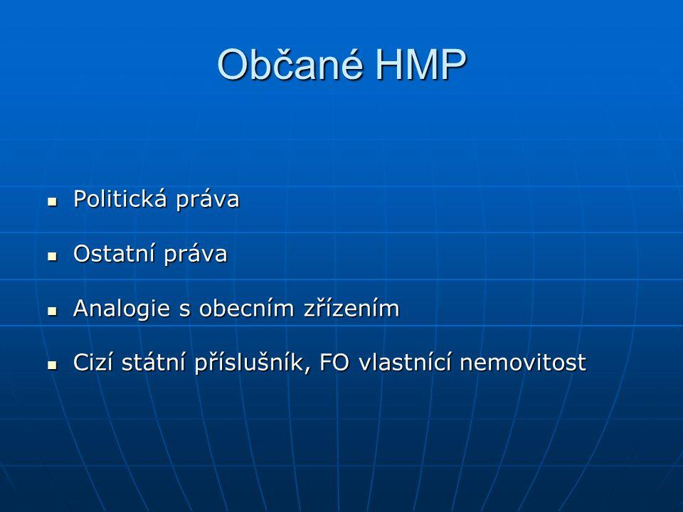 Občané HMP Politická práva Ostatní práva Analogie s obecním zřízením