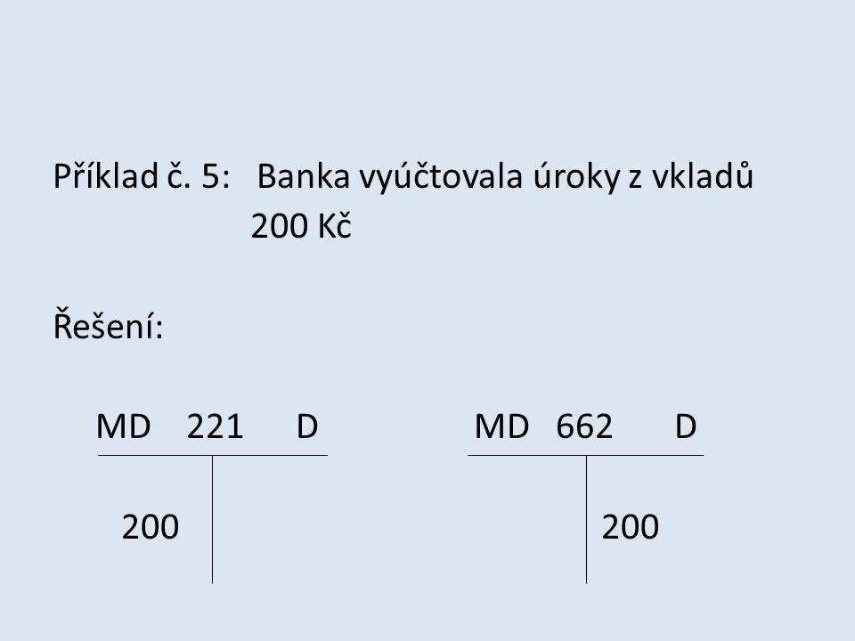 Příklad č. 5: Banka vyúčtovala úroky z vkladů 200 Kč Řešení: MD 221 D MD 662 D 200 200