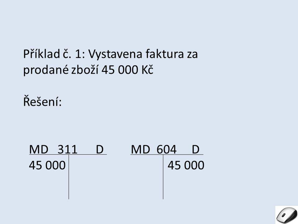 Příklad č. 1: Vystavena faktura za prodané zboží 45 000 Kč