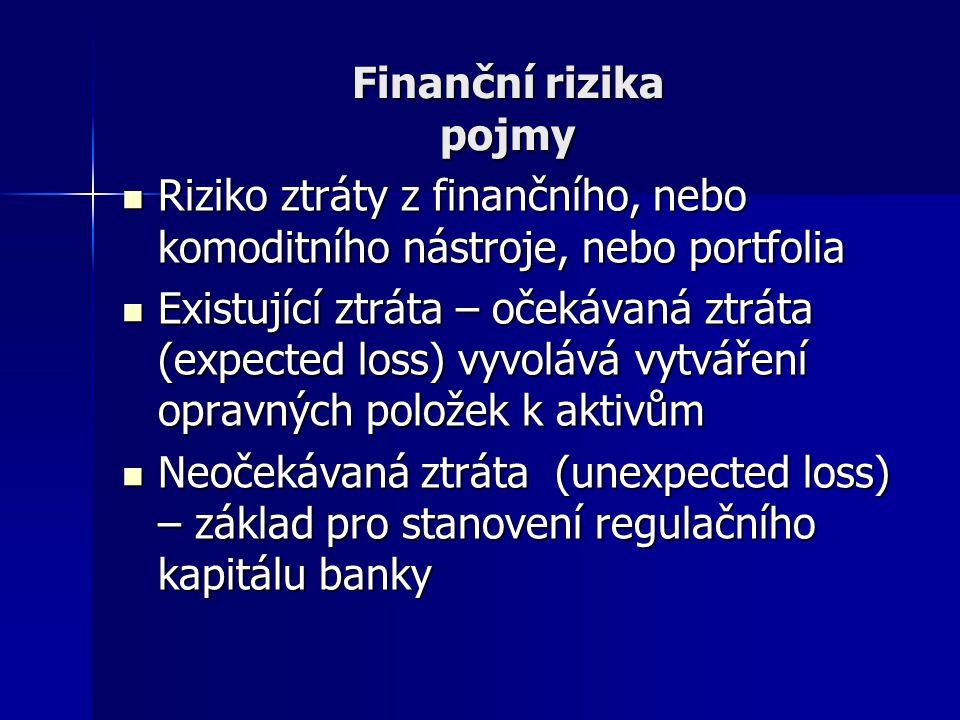 Finanční rizika pojmy Riziko ztráty z finančního, nebo komoditního nástroje, nebo portfolia.