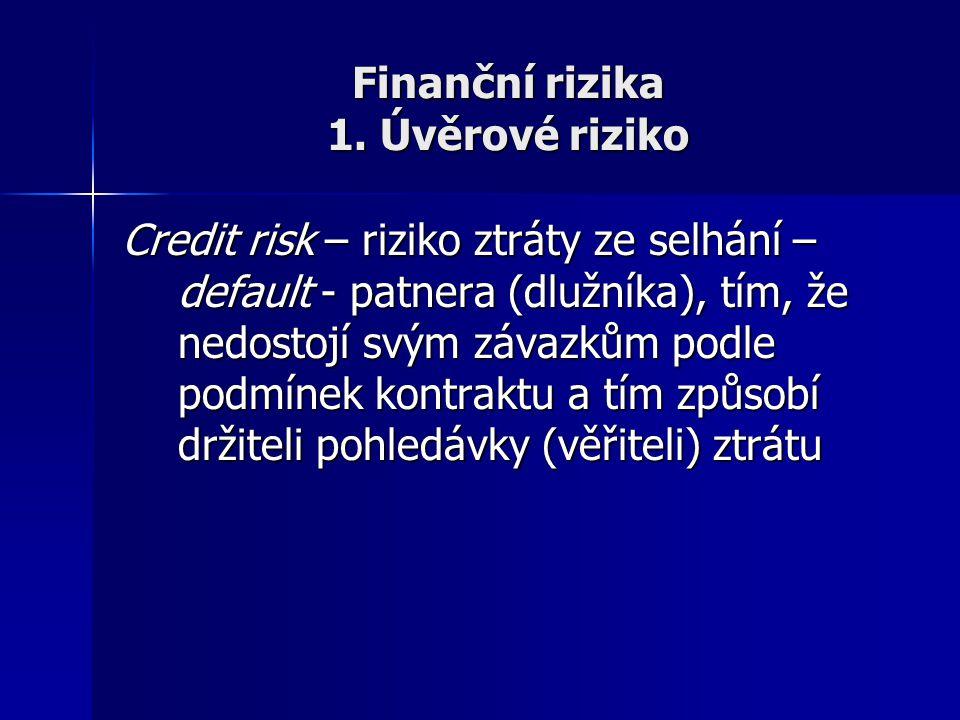Finanční rizika 1. Úvěrové riziko