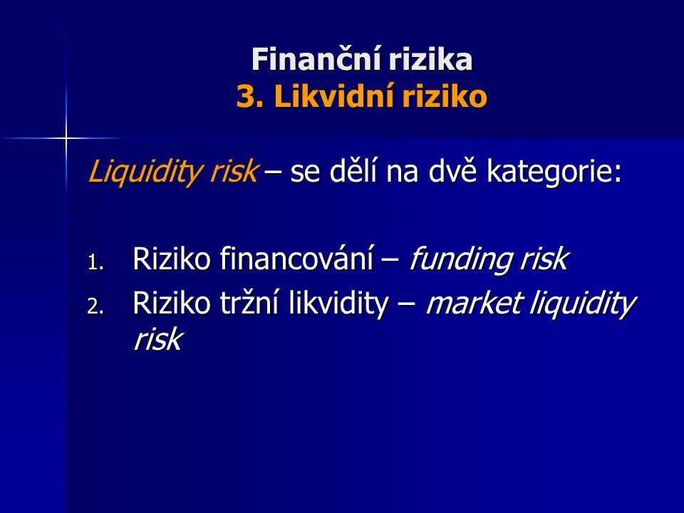 Finanční rizika 3. Likvidní riziko