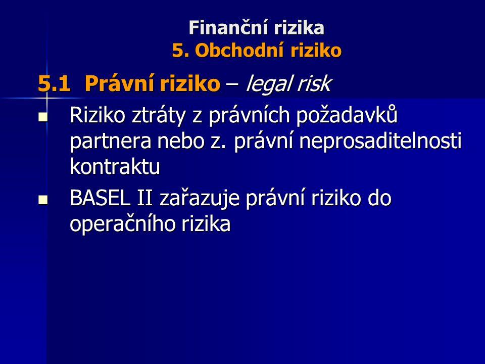Finanční rizika 5. Obchodní riziko