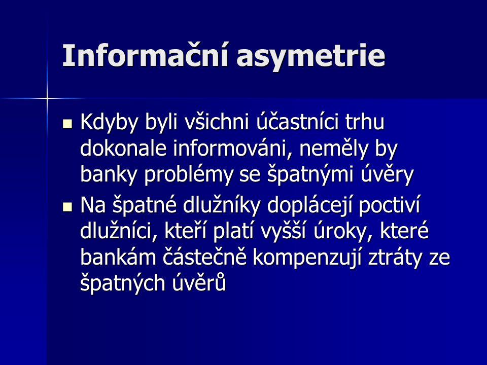 Informační asymetrie Kdyby byli všichni účastníci trhu dokonale informováni, neměly by banky problémy se špatnými úvěry.