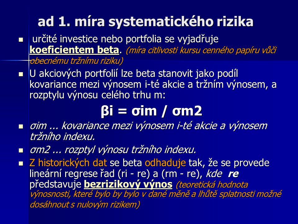 ad 1. míra systematického rizika