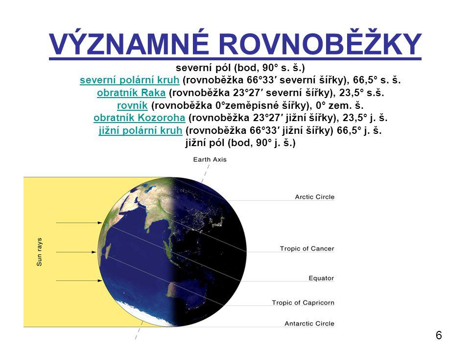 VÝZNAMNÉ ROVNOBĚŽKY 6 severní pól (bod, 90° s. š.)