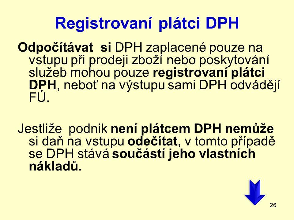 Registrovaní plátci DPH