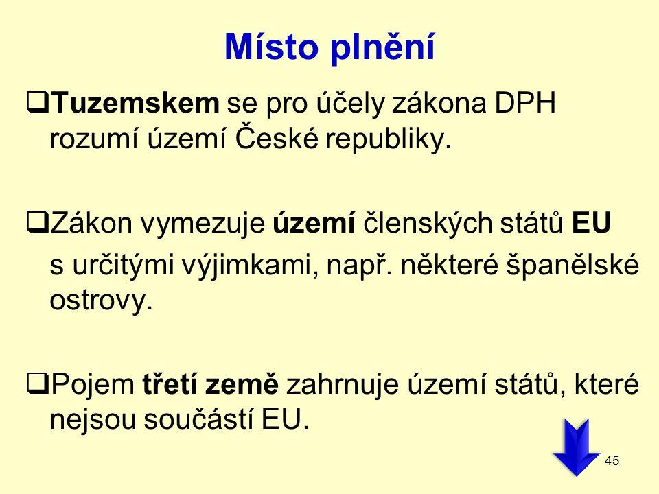Místo plnění Tuzemskem se pro účely zákona DPH rozumí území České republiky. Zákon vymezuje území členských států EU.