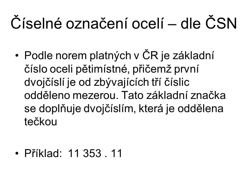 Číselné označení ocelí – dle ČSN