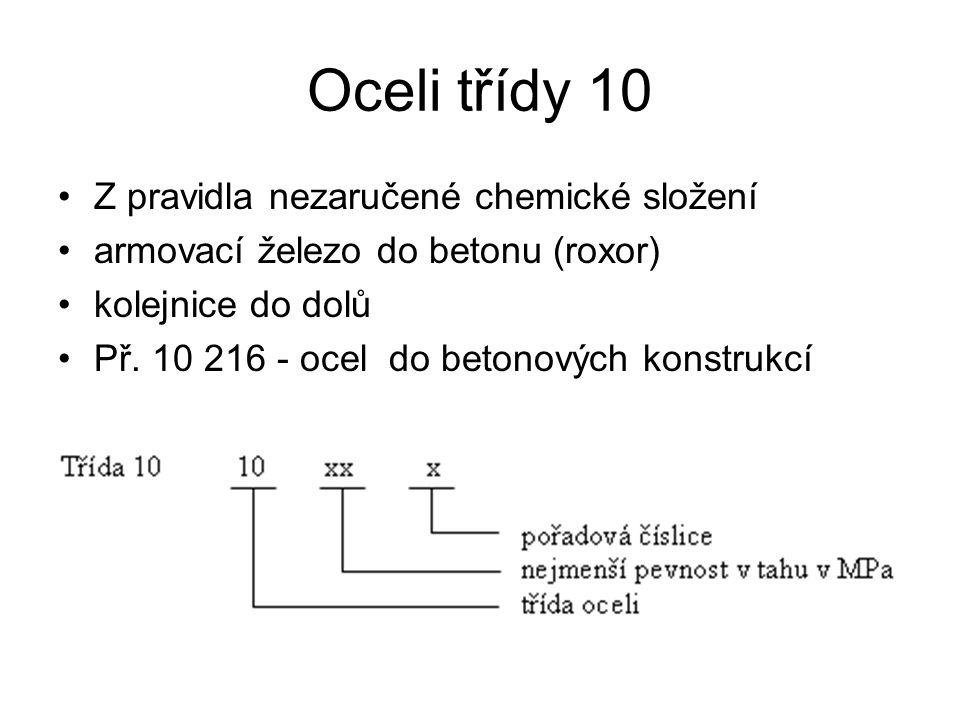 Oceli třídy 10 Z pravidla nezaručené chemické složení