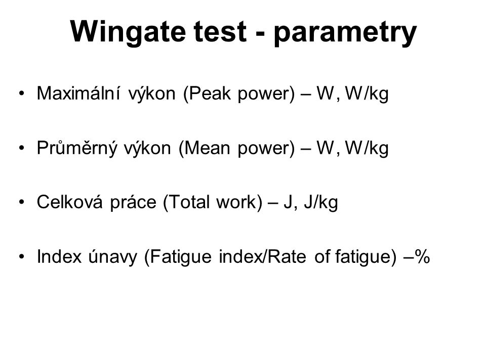 Wingate test - parametry