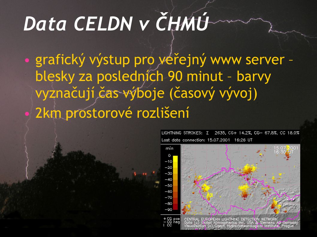 Data CELDN v ČHMÚ grafický výstup pro veřejný www server – blesky za posledních 90 minut – barvy vyznačují čas výboje (časový vývoj)