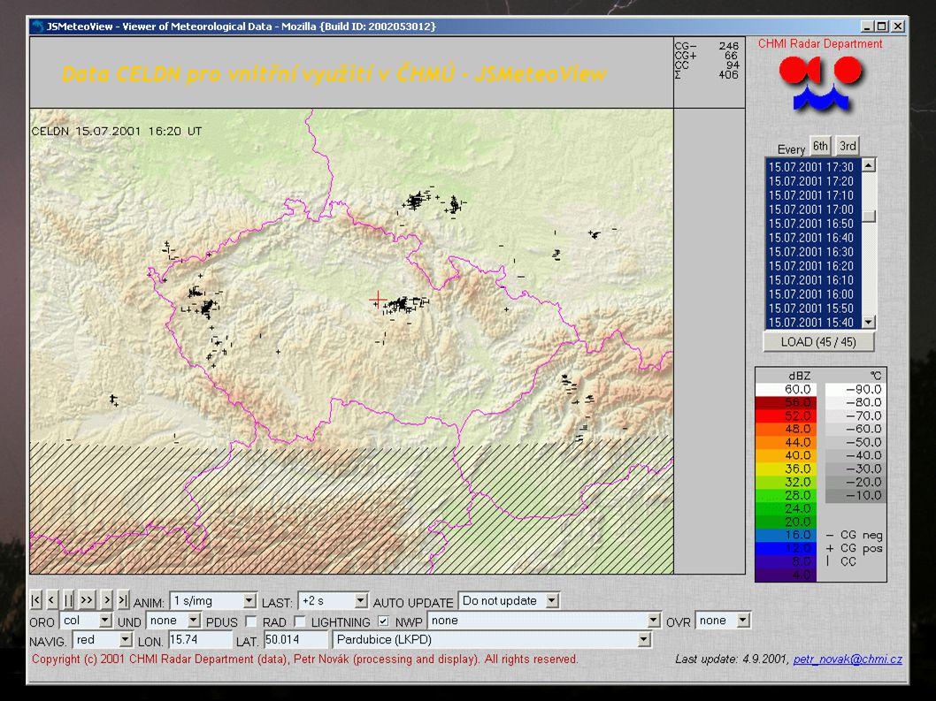 Data CELDN pro vnitřní využití v ČHMÚ - JSMeteoView
