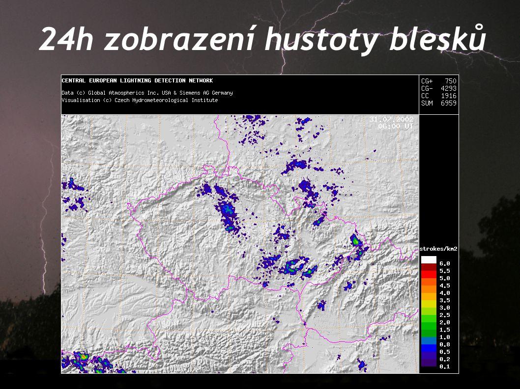 24h zobrazení hustoty blesků