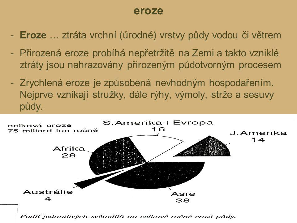 eroze Eroze … ztráta vrchní (úrodné) vrstvy půdy vodou či větrem